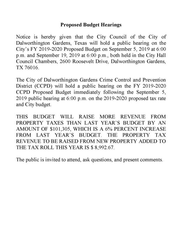 Budget Hearing Notice